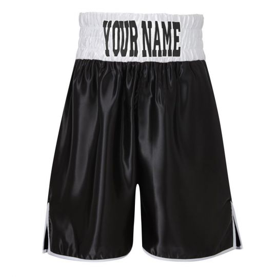 SW Satin Boxing Shorts - Black/White