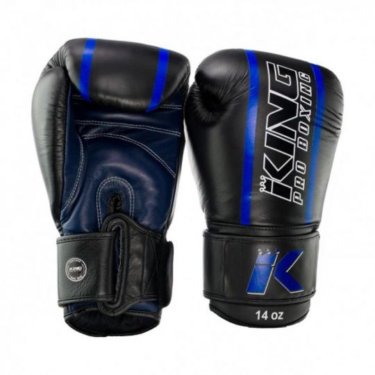King Pro Elite Boxing Gloves - Black/Blue