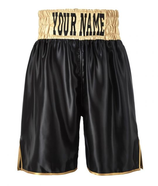 SW Satin Boxing Shorts - Black/Gold