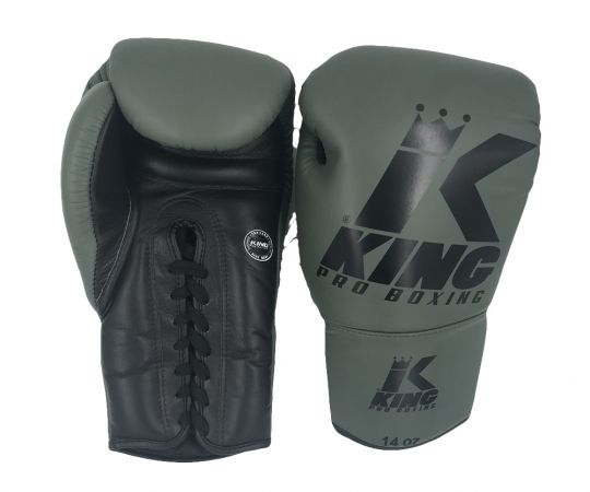 King Pro Boxing Lace Up Gloves - Green