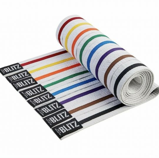 Blitz Sport White Belt / Colour Stripe
